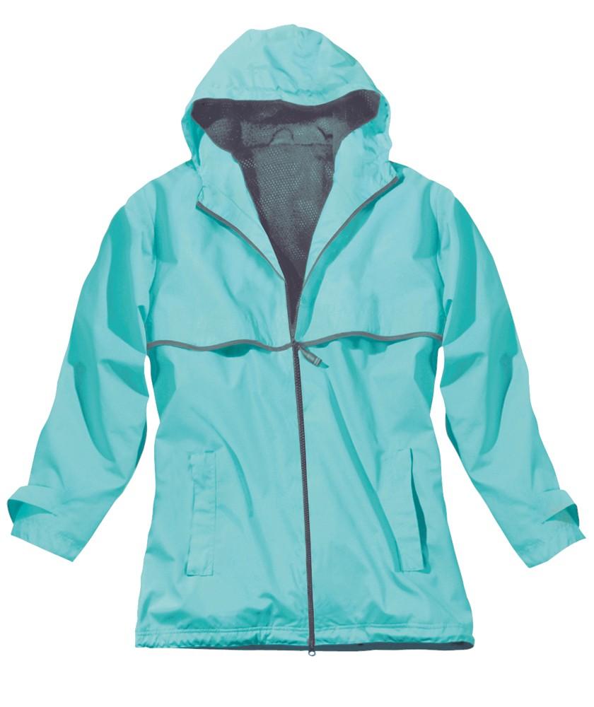 Charles River Womens New Englander Rain Jacket- Aqua/Reflective ...