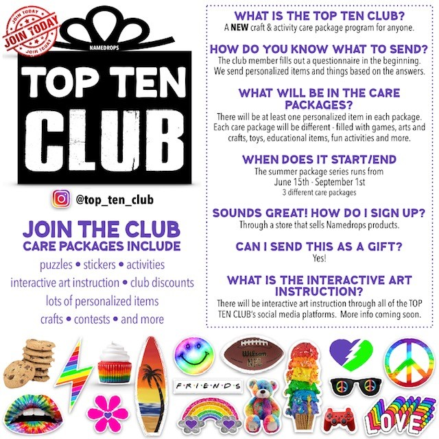 NAMEDROPS TOP TEN CLUB